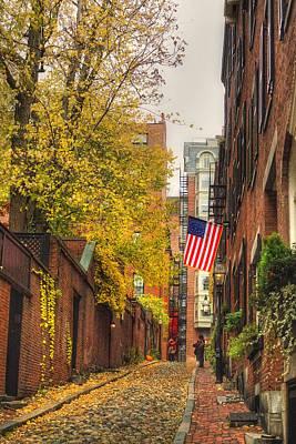 Autumn Scene Photograph - Acorn Street - Boston by Joann Vitali
