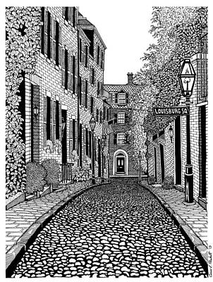 Pen And Ink Historic Buildings Drawings Drawing - Acorn Street Louisburg Square by Conor Plunkett