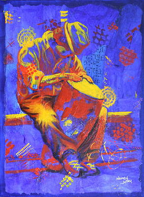 Art Print featuring the painting Acoustic Blues by Nancy Jolley