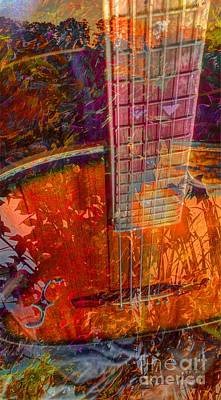 Acoustic Dreams Digital Guitar Art By Steven Langston Art Print by Steven Lebron Langston