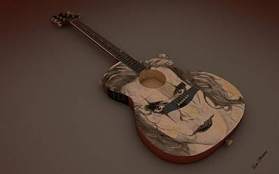 Digital Art - Acoustic Eletric Guitar by Louis Ferreira