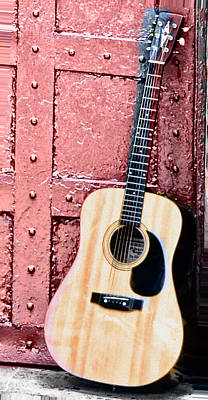 Acoustic Guitar Photograph - Acoustic Guitar And Red Door by Bill Cannon