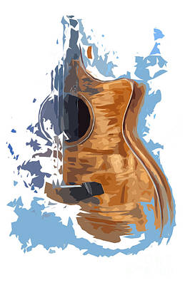 Musicians Drawings Rights Managed Images - Acoustic Guitar Blue Background 4 Royalty-Free Image by Drawspots Illustrations