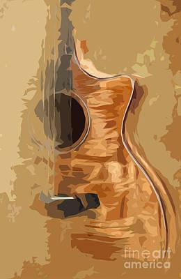 Acoustic Guitar Brown Background 1 Art Print