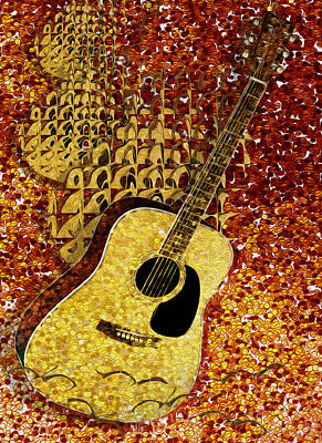Clarinet Digital Art - Acoustic Guitar by Jack Zulli