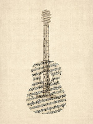 String Digital Art - Acoustic Guitar Old Sheet Music by Michael Tompsett