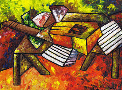 Polish Artists Painting - Acoustic Guitar On Artist's Table by Kamil Swiatek