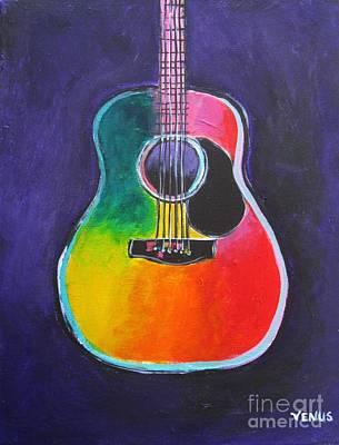 Dallas Western Painting - Acoustic Guitar by Venus