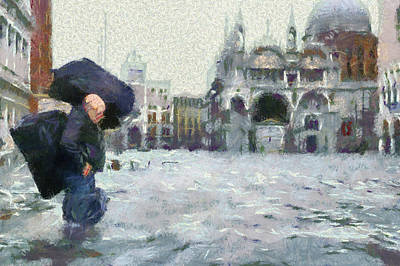 Alta Painting - Acqua Alta Venice by Clai
