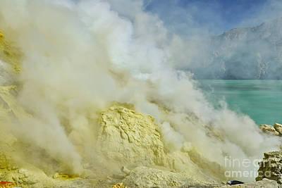acrid steam and yellow sulphur in crater of vulcano Kawah Ijen Java Indonesia Original