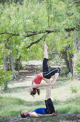 Woman Practicing Yoga Photograph - Acro Yoga by Mesha Zelkovich