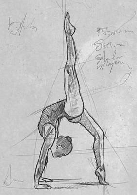 Woman Drawing Drawing - Acrobat Study by H James Hoff