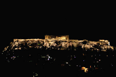 Photograph - Acropolis At Darkest Night by Lorraine Devon Wilke