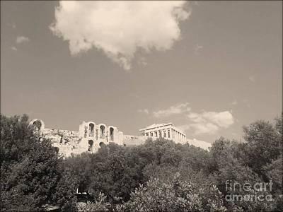 Acropolis In Black Art Print by Katerina Kostaki