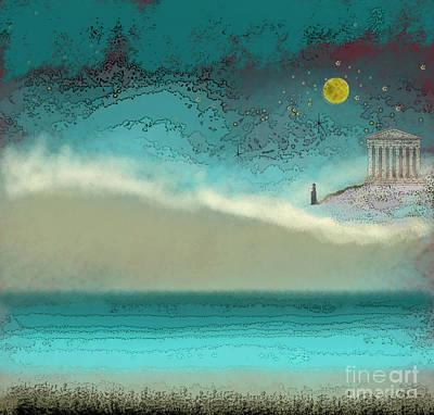 Digital Art - Acropolis In Moonlight by Carol Jacobs