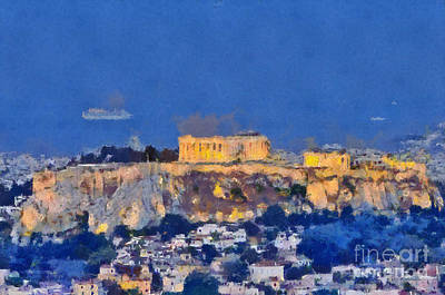 Monument Painting - Acropolis Of Athens During Sunrise by George Atsametakis