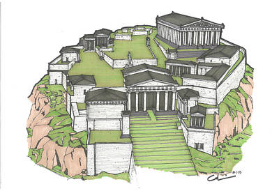 Acropolis Of Athens Restored Original by Calvin Durham