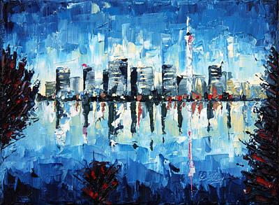 Across The Bay - Palette Knife Oil Painting - No Brush Art Print