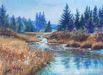 The Maine Drawing - Across The Brook by Joy Nichols