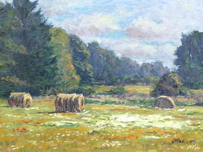 Hay Bale Painting - Across The Fields by Michael Camp