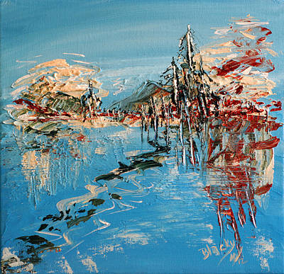 Nature Abstract Painting - Across The Lake by Donna Blackhall