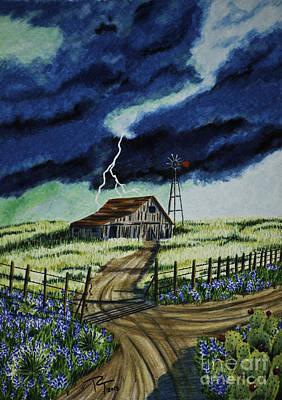 Across The Plains Of Texas Art Print by Robert Thornton