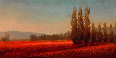 Red Sky Wall Art - Painting - Across The Tulip Field - Horizontal Landscape by Karen Whitworth