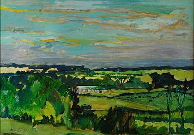 Rural Landscapes Photograph - Across The Valley, Bedfordshire, 1973 Oil On Canvas by Brenda Brin Booker