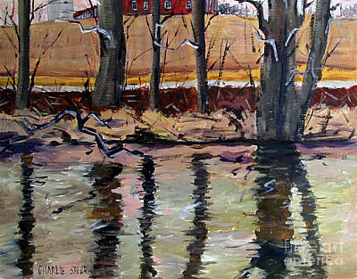 Masonite Painting - Acrossthe Eel To The Smith Place by Charlie Spear