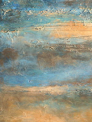 Acrylic Pour Painting - acrylic abstract landscape painting COASTAL MORNING by Holly Anderson