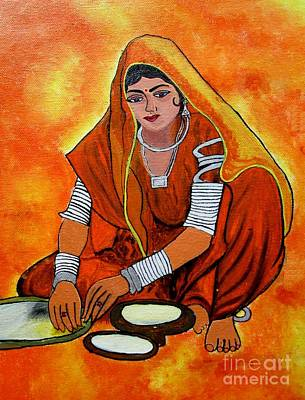 Painting - Acrylic Painting-a Rural Lady Making Chapati by Priyanka Rastogi