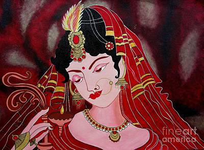 Painting - Acrylic Painting-lady With Diya by Priyanka Rastogi