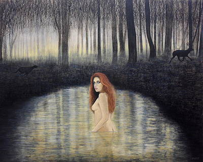 Painting - Actaeon And Artemis by Lynet McDonald