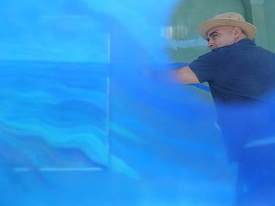 Action Artist In Holga Blue Art Print by Carolina Liechtenstein