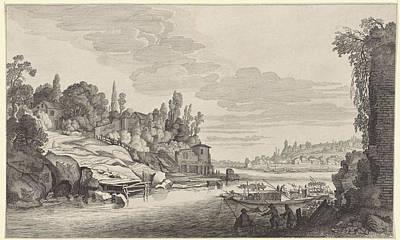 Water Activity Drawing - Activity In A River Landscape, Jan Van De Velde II by Jan Van De Velde (ii) And Pieter De Molijn