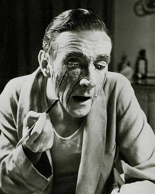 Photograph - Actor Clifton Webb Applying Make-up by Lusha Nelson