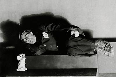 Actor Ed Wynn Lying Down On A Bench In 'the Laugh Art Print by Florence Vandamm