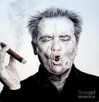 Jack Nicholson Drawing - Actor Jack Nicholson Smoking by Jim Fitzpatrick