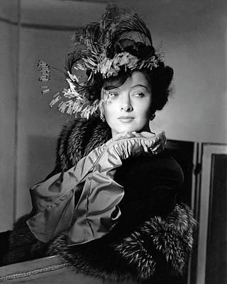 Ostrich Photograph - Actress Myrna Loy by Horst P. Horst