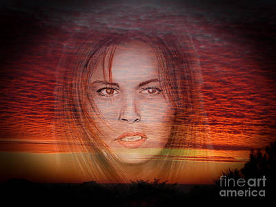 Fade Drawing - Actress Raquel Welch In Hannie Caulder Sunset Version by Jim Fitzpatrick