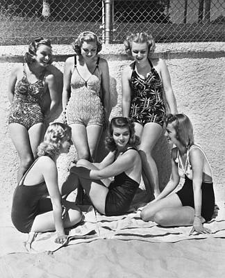 One Piece Swimsuit Photograph - Actresses At Malibu Beach by Underwood Archives