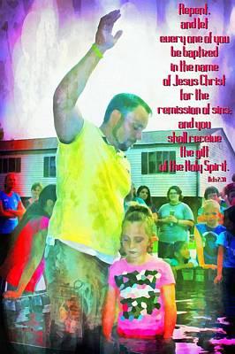 Baptizing Digital Art - Acts 2 38 by Michelle Greene Wheeler