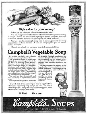 American Food Painting - Ad Campbell's Soup, 1918 by Granger
