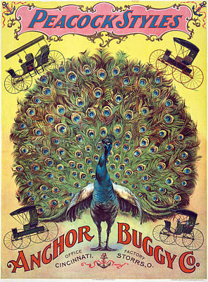 Peacock Poster Painting - Ad Carriages, C1897 by Granger