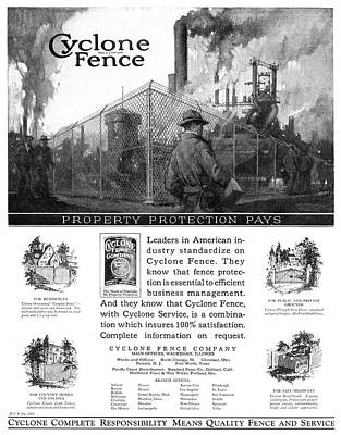Fencing Painting - Ad Fencing, 1927 by Granger