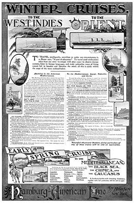 Hamburg Drawing - Ad Hamburg-american Line by Granger