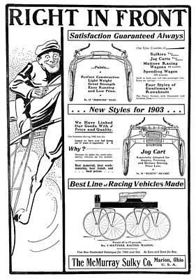 Ad Horse-racing Vehicles Art Print by Granger