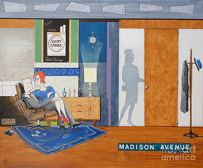 Painting - Ad Man Sitting In An Eames With Girl Friday by John Lyes