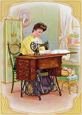 Sewing Machine Painting - Ad Singer Sewing Machine by Granger