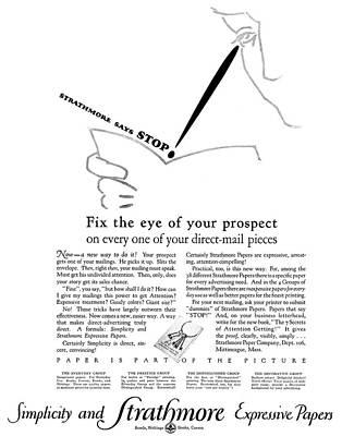 Ad Strathmore, 1927 Art Print